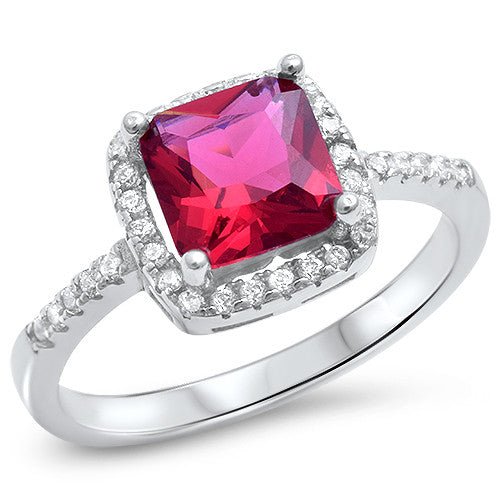 <span>CLOSEOUT!</span> Sterling Silver Cushion Cut Ruby Ring with CZ Sizes 4-10