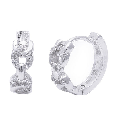 Micro Pave Cz Infinity .925 Sterling Silver Hoop Earring