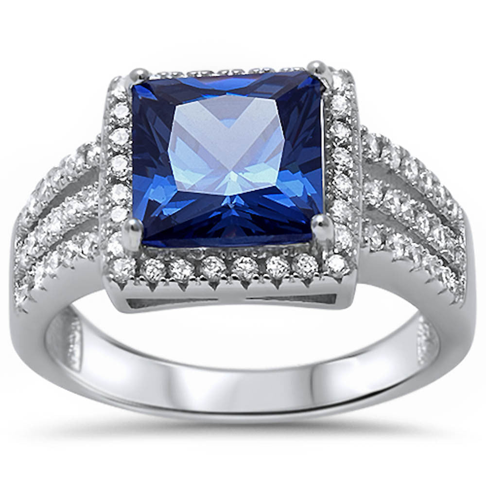 <span>CLOSEOUT!</span> 5.50ct Princess Cut Tanzanite & Cz .925 Sterling Silver Ring Sizes 5-11