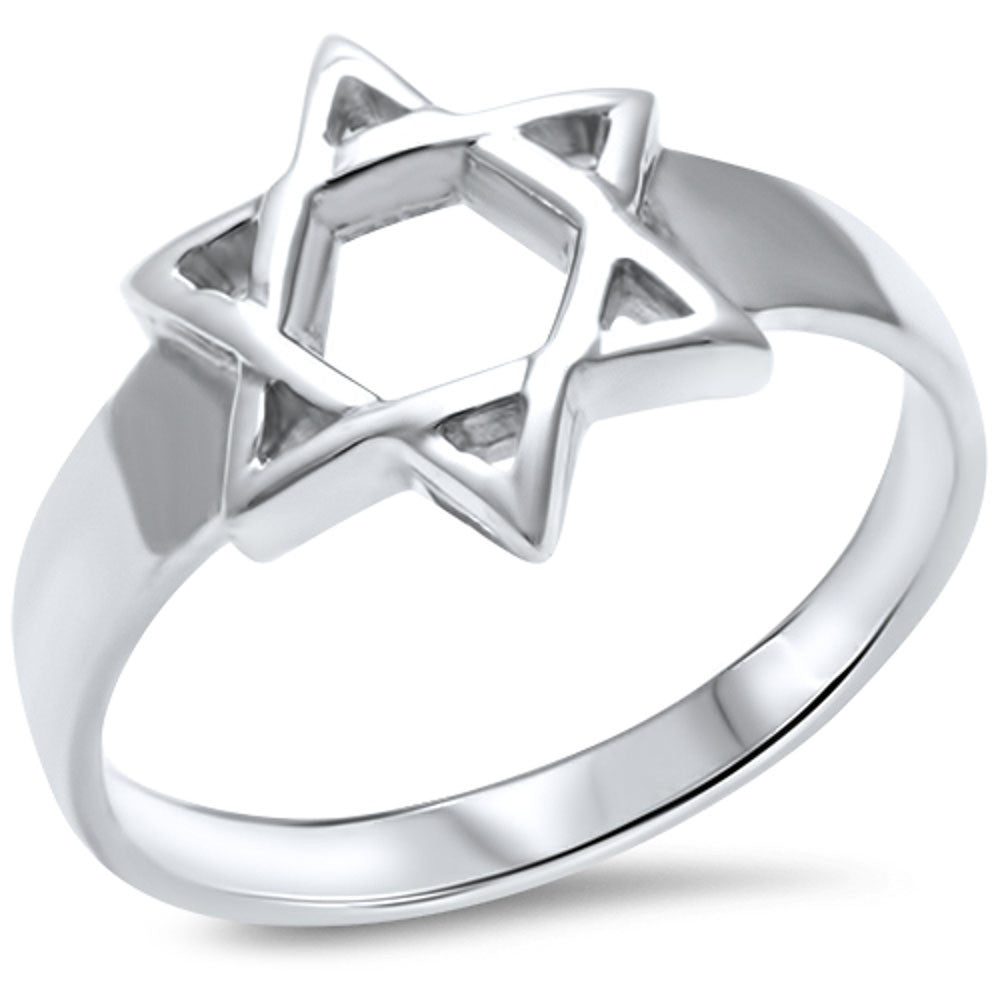 <span>CLOSEOUT! </span>.925 Sterling Silver Star of David Ring Sizes 5-10