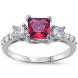 <span>CLOSEOUT!</span>Princess Cut Ruby & Round Cubic Zirconia Fashion .925 Sterling Silver Ring Sizes 4-11