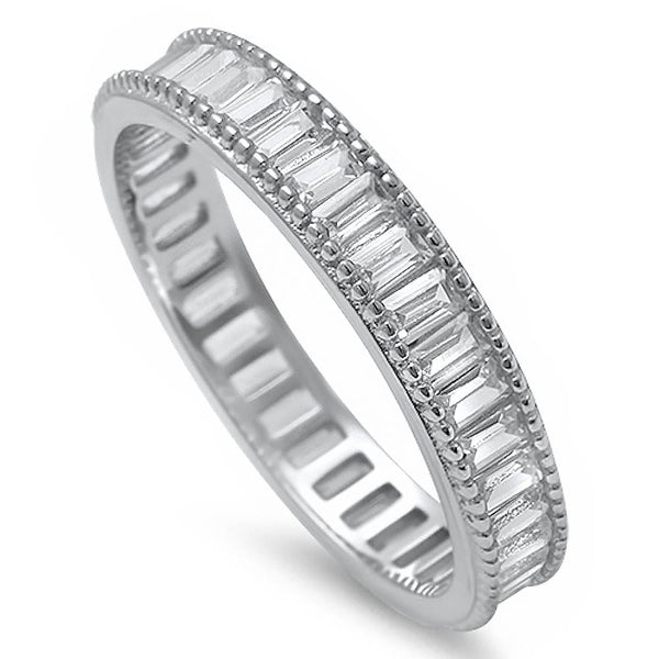 Elegant Baguette Cz Fashion Engagement Band .925 Sterling Silver Ring Sizes 4-10