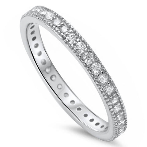 <span>CLOSEOUT!</span> Pave Cz Eternity Style Band .925 Sterling Silver Ring Sizes 3-12