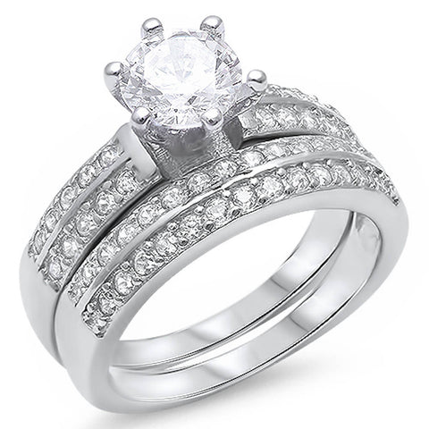 1.50Ct White Cz Heavy Bridal Set .925 Sterling Silver Ring Sizes 5-11
