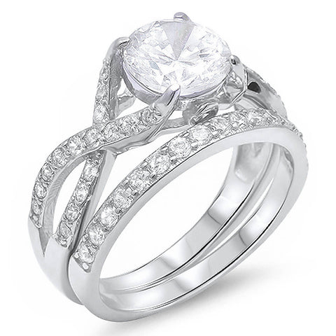 2ct Round CZ 2 Rings Engagement Set .925 Sterling Silver Ring Sizes 5-11