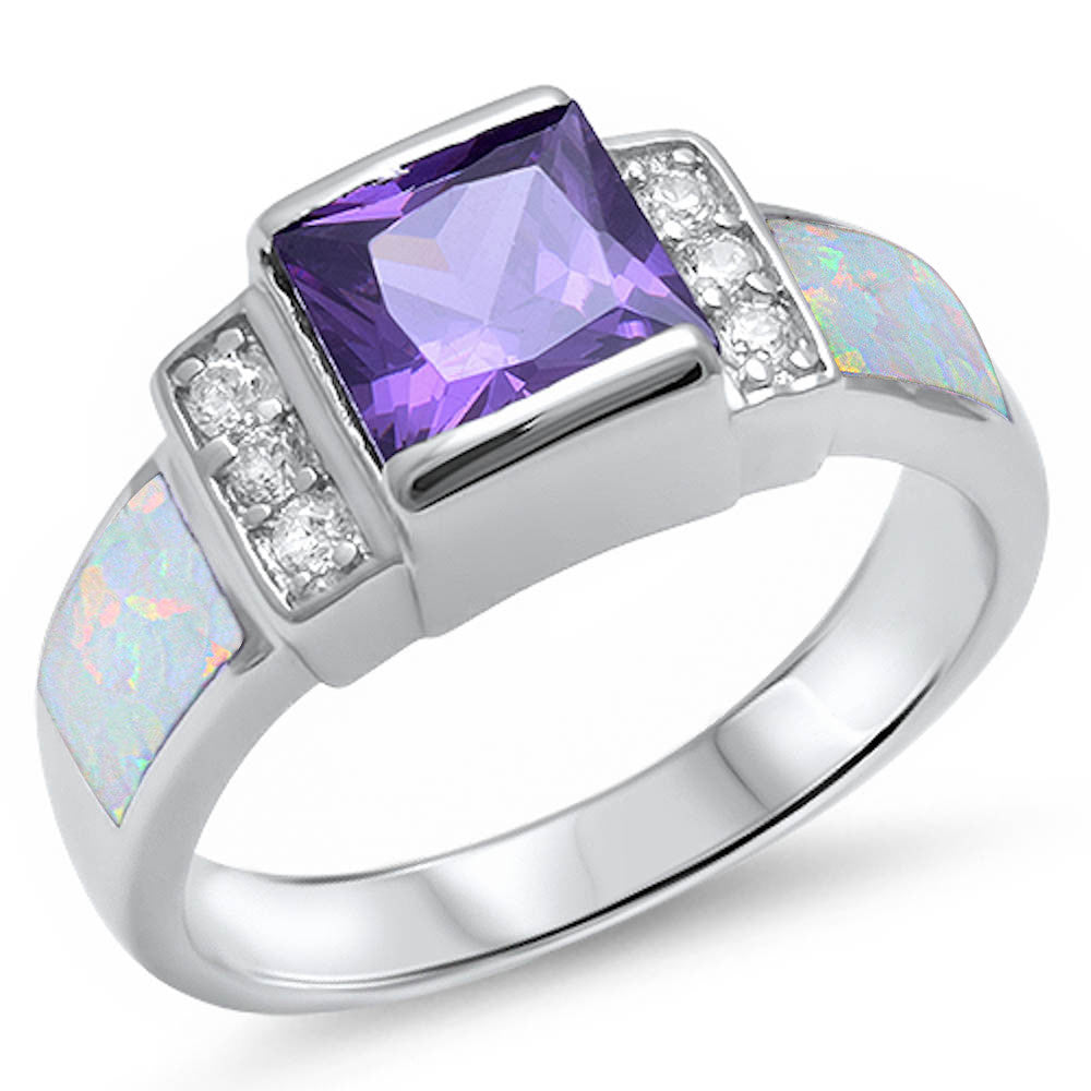 <span>CLOSEOUT!</span> Amethyst, White Opal, & Cz .925 Sterling Silver Ring Sizes 5-10