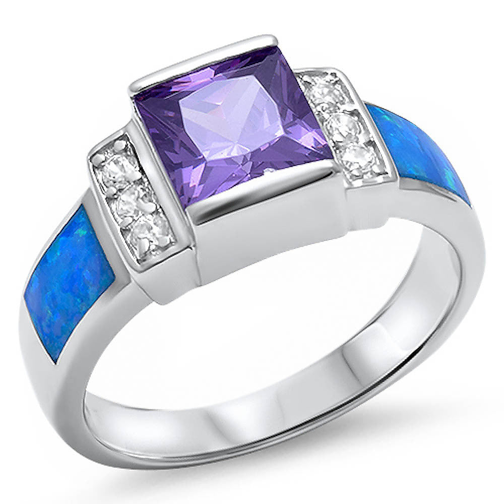 <span>CLOSEOUT!</span> Amethyst, Blue Opal, & Cz .925 Sterling Silver Ring Sizes 5-10