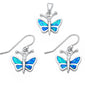 Blue Fire Opal Butterfly .925 Sterling Silver Pendant & Earrings Set