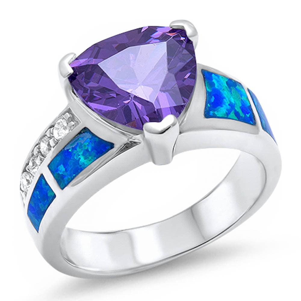 <span>CLOSEOUT!</span> Trillion Shape Amethyst, Blue Opal, & Cz .925 Sterling Silver Ring Sizes 5-10