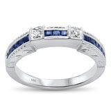 .58ct 14kt White gold Blue Sapphire Gemstone & Diamond Anniversary Wedding Band