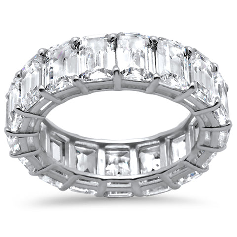 Emerald Cut Cubic Zirconia .925 Sterling Silver Eternity Band Ring Sizes 5-8