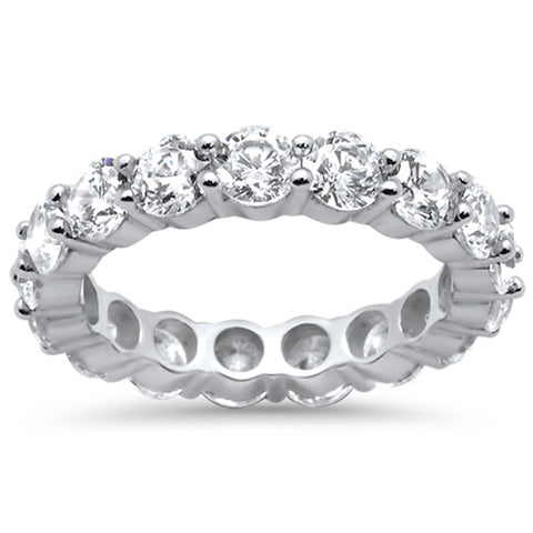 Round Cubic Zirconia .925 Sterling Silver Eternity Band Ring Sizes 5-10