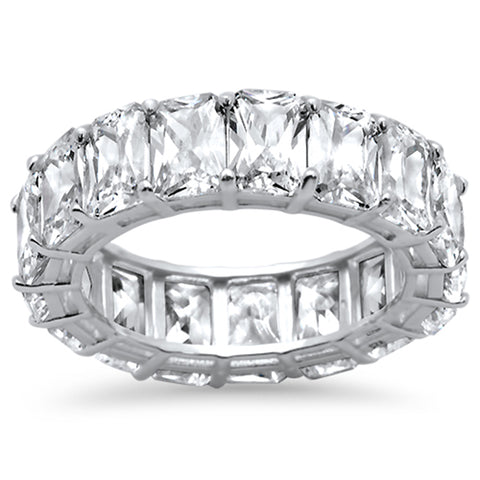 Radiant Cut Cubic Zirconia .925 Sterling Silver Eternity Band Ring Sizes 5-8