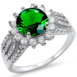 <span>CLOSEOUT!</span>  Halo Style Green Emerald & Cz Fashion .925 Sterling Silver Ring Sizes 5-10