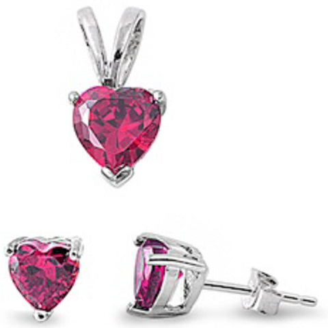 BEST SELLER GIFT! Blue Sapphire Heart Pendant & Earring .925 Sterling Silver