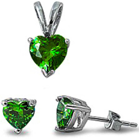 Green Emerald Heart Pendant & Earrings Set .925 Sterling Silver