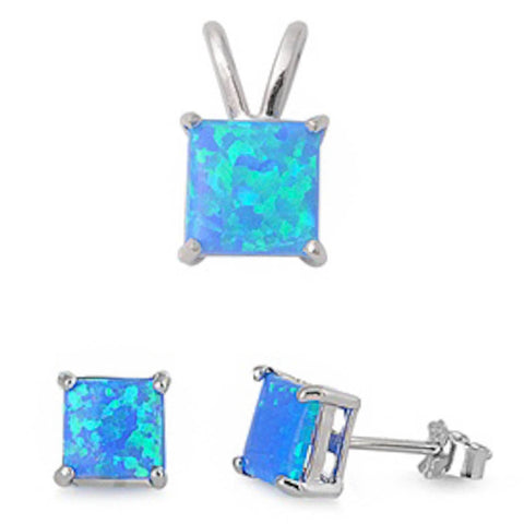 GREAT QUALITY Princess Cut Blue Lab FIRE Opal Pendant & Earring .925 Sterling Silver
