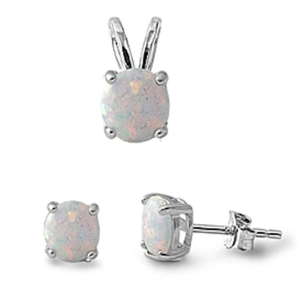 Round White Opal Pendant and Earrings Set .925 Sterling Silver