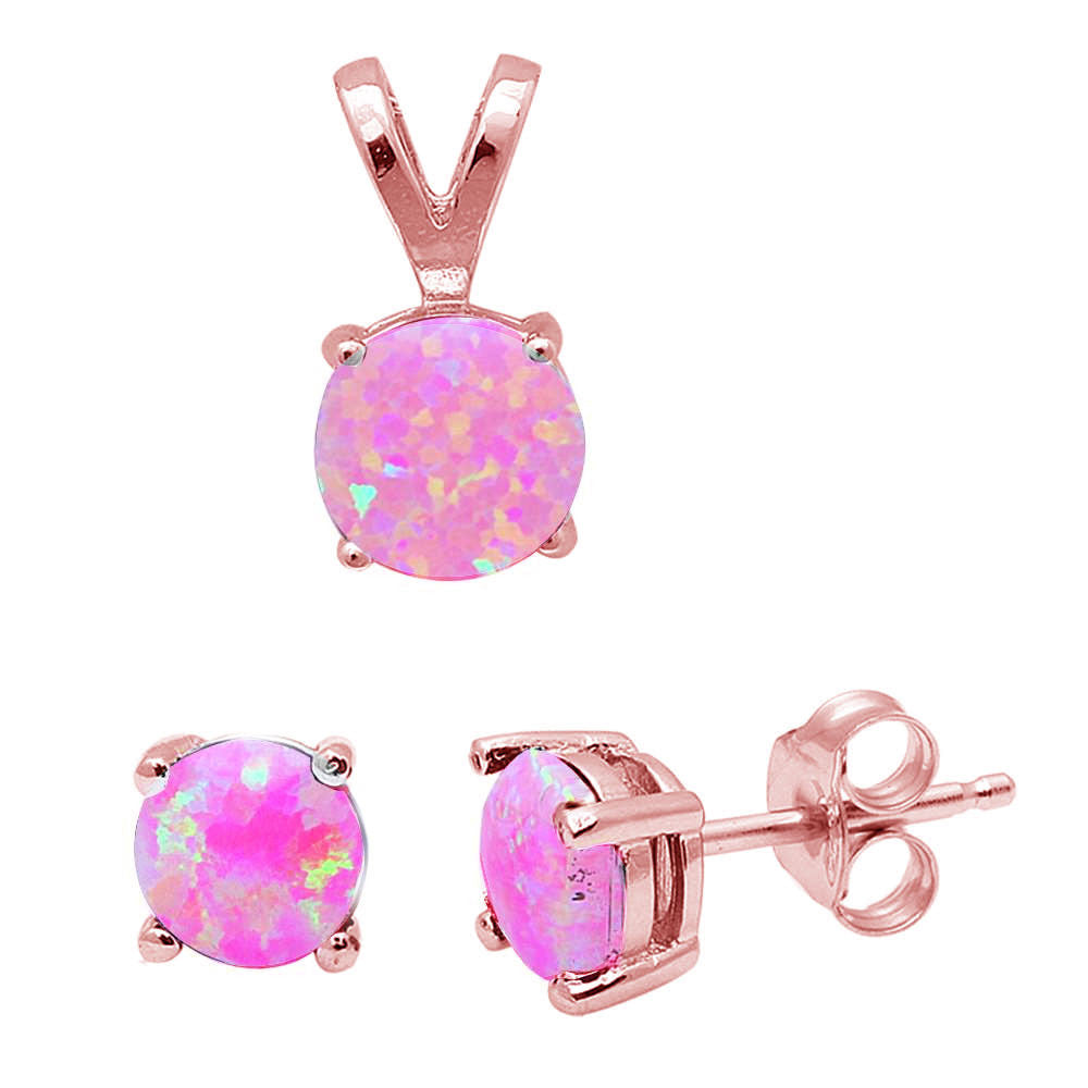 Round Rose Gold Plated Pink Fire Opal .925 Sterling Silver Earring & Pendant Set