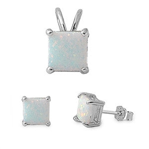 White Fire Opal .925 Sterling Silver Earrings and Pendant Set
