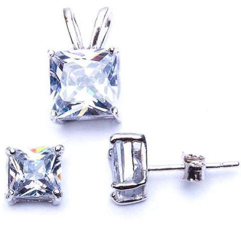 Princess Cut Beautiful White Cubic Zirconia Pendant & Earring Set