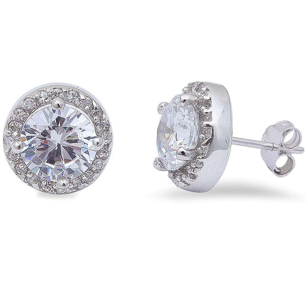 Round Cz Studs .925 Sterling Silver Earring