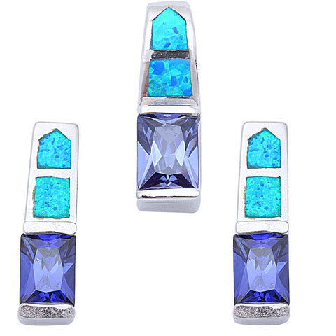 Tanzanite & White Opal .925 Sterling Silver Pendant & Earrings Set