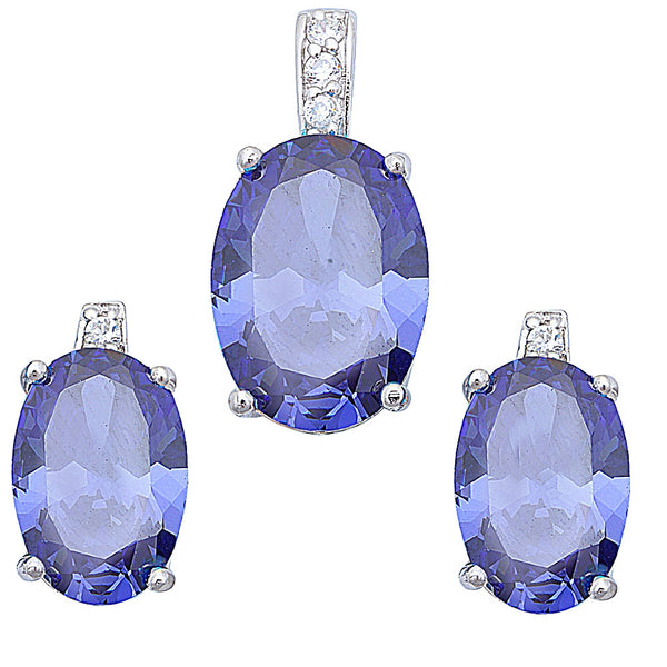 BEST SELLER ! TANZANITE & WHITE CZ HIGH FASHION .925 Sterling Silver Earrings