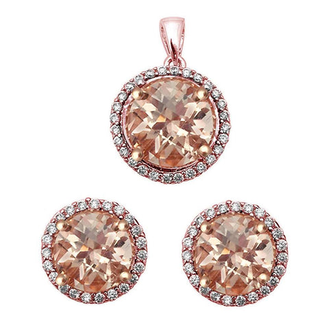 Halo Simulated Morganite  .925 Sterling Silver Earrings & Pendant Set