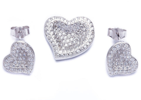 Best Gift! Pave Set Cz Heart .925 Sterling Silver Earring & Pendant Set