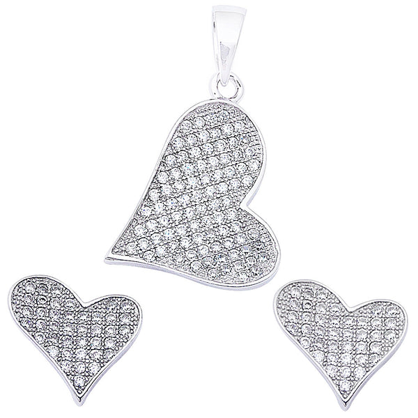 Gorgeous Pave Set Cz Heart .925 Sterling Silver Earring & Pendant Set