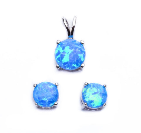 Authentic Blue Fire Opal .925 Sterling Silver Earring & Pendant Set