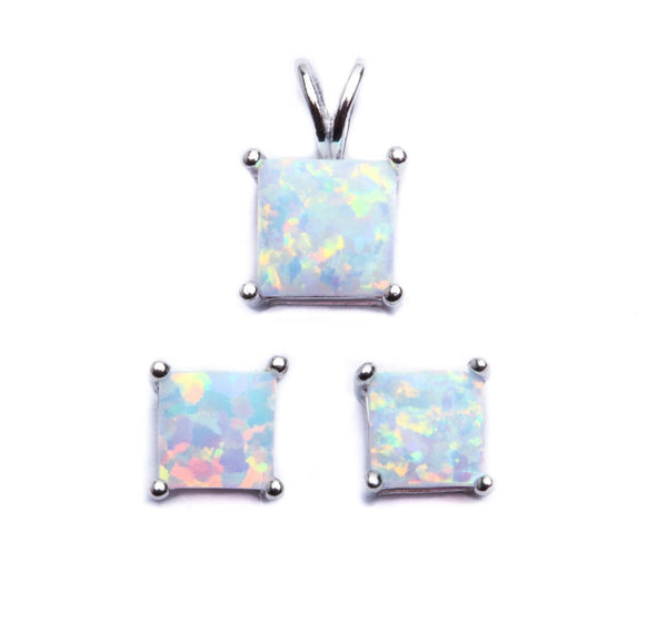 Authentic Princess Cut White Opal .925 Sterling Silver Earring & Pendant Set