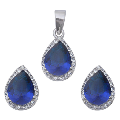 "Pear Cut Blue Sapphire & Cz .925 Sterling Silver Earring & Pendant Set .75"" Pendant"