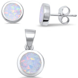 Round White Fire Opal .925 Sterling Silver Earrings & Pendant Set