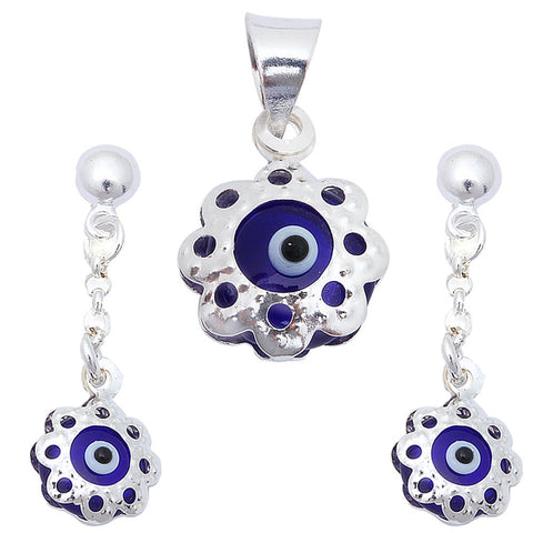 Evil Eye .925 Sterling Silver Earring & Pendant Set