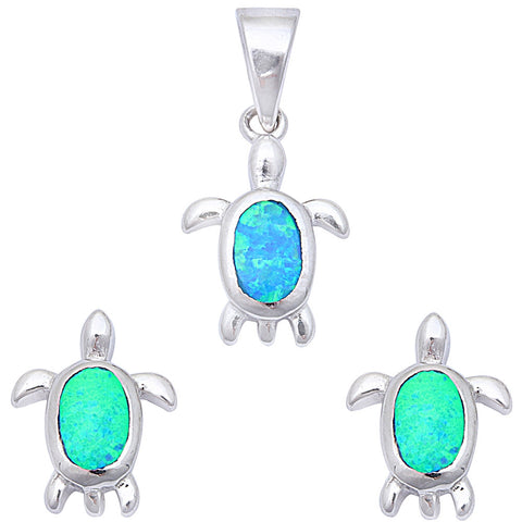 Blue Opal Turtle .925 Sterling Silver Earring