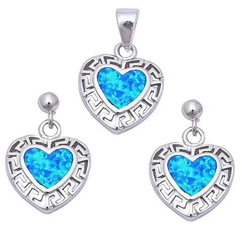 Blue Opal Fancy Heart .925 Sterling Silver Earring