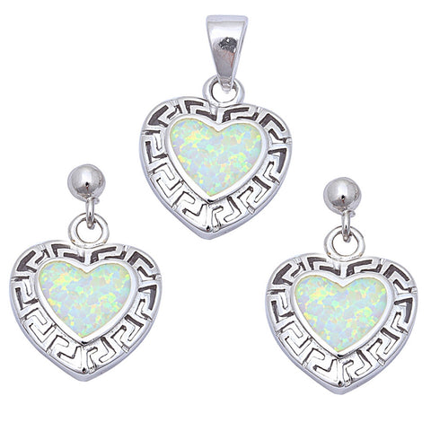 White Opal Fancy Heart .925 Sterling Silver Earring