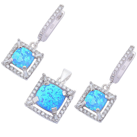 Lab Created Blue Opal & CZ .925 Sterling Silver Earring & Pendant Jewelry set