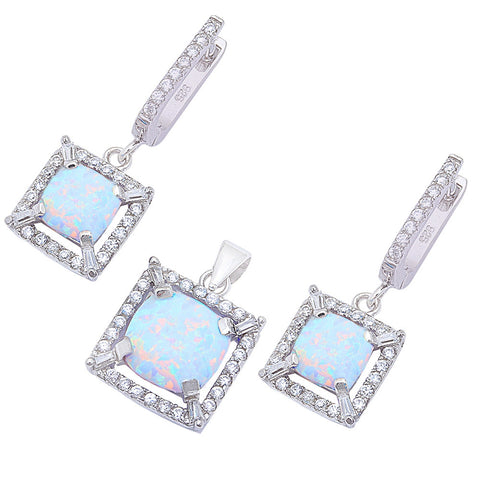 Lab Created White Opal .925 Sterling Silver Earring & Pendant Jewelry set
