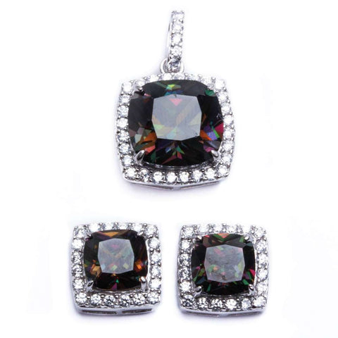 Cushion Cut Rainbow Color CZ .925 Sterling Silver Earring & Pendant Jewelry set