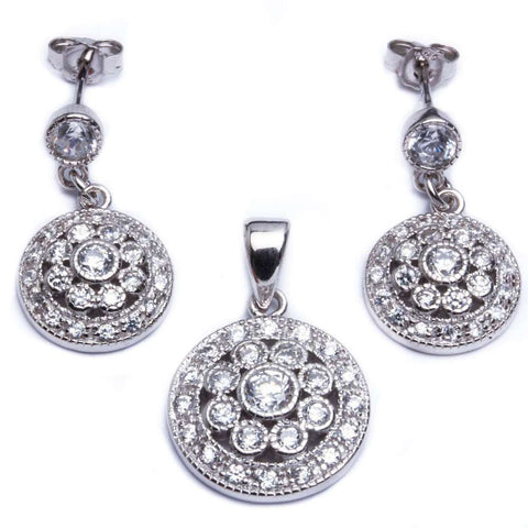 Round CZ Flower .925 Sterling Silver Earring & Pendant Jewelry set