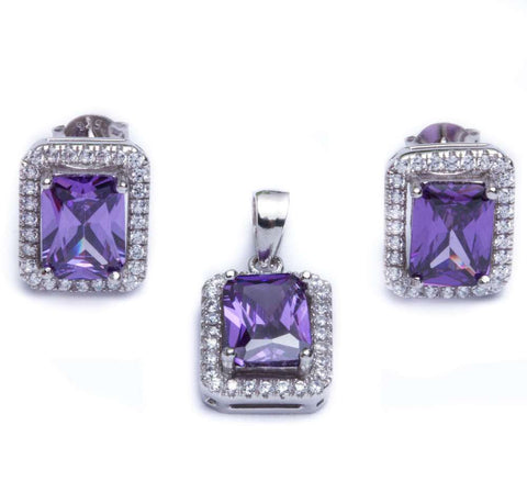 5.50ct Radiant Cut Amethyst & Cz .925 Sterling Silver & Pendant Jewelry set