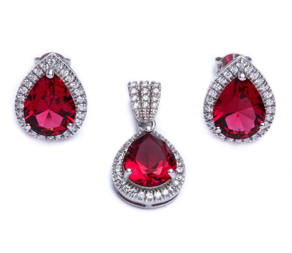 7.75ct Pear Cut Ruby & Cz .925 Sterling Silver & Pendant Jewelry set