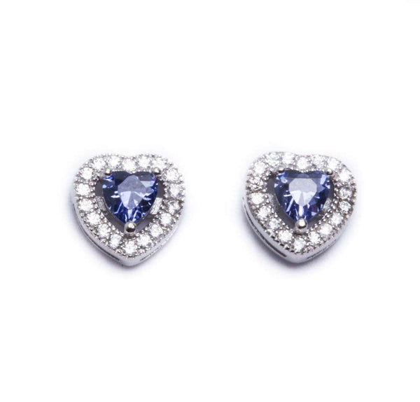 Tanzanite & Cz Heart Studs .925 Sterling Silver Earrings
