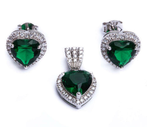 5.50ct Emerald & Cz Heart .925 Sterling Silver & Pendant Jewelry set
