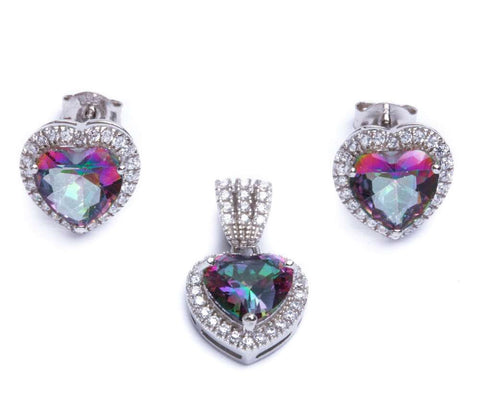5.50ct Rainbow Topaz & Cz Heart .925 Sterling Silver & Pendant Jewelry set