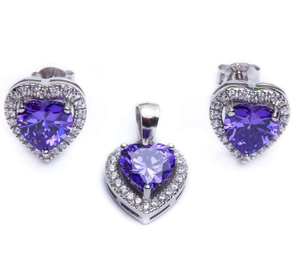 4ct Amethyst & Cz Heart .925 Sterling Silver & Pendant Jewelry set