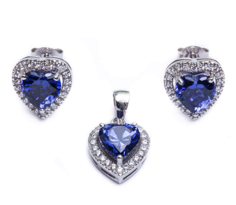 4ct Tanzanite & Cz Heart .925 Sterling Silver & Pendant Jewelry set